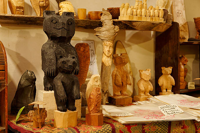 Kengo Takiguchi's artwork includes models of bears and chess pieces fashioned in the shape of owls.