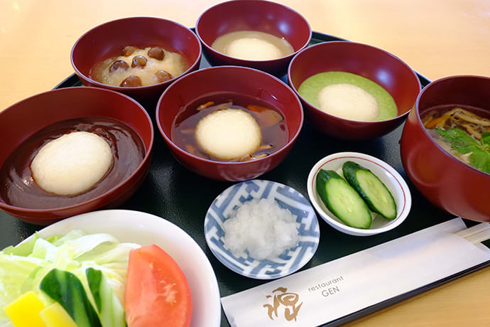 The Hiraizumi Mochi Gozen, an assortment of mochi dishes. Other popular choices include Iwate's famous Maesawa beef, or soba noodles.