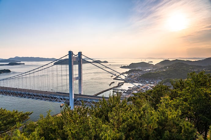 View the Great Seto Bridge from the Mt. Washu observation deck