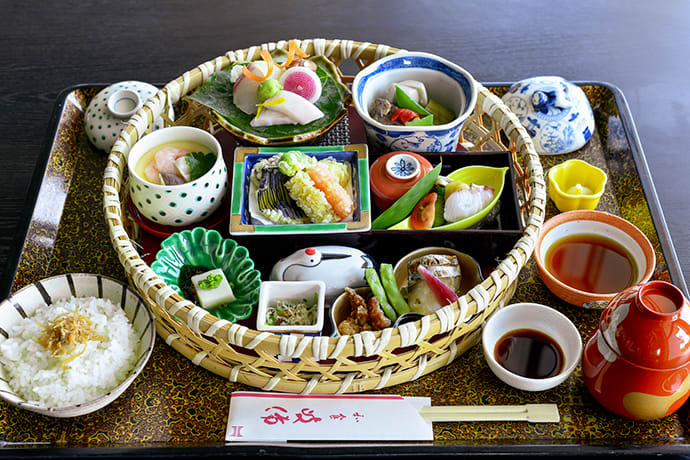 Lunch at Kibi is a vibrant affair. This seasonal assortment includes butterfish sashimi, a rare delicacy.
