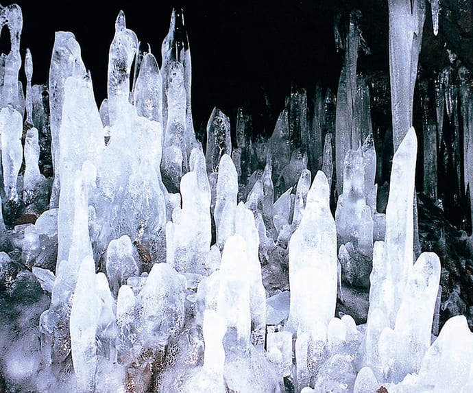 Ice pillars in Narusawa Ice Cave.