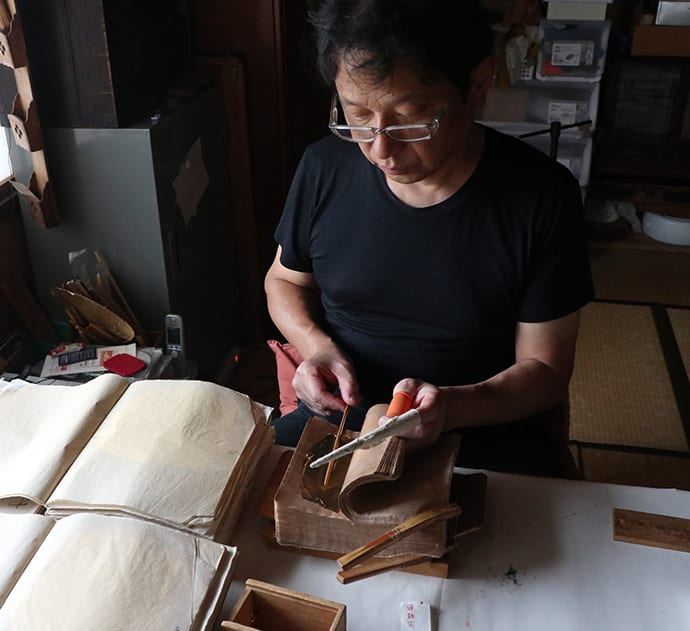 Three generations of Kenichi Matsumura's family have been involved in making gold leaf.