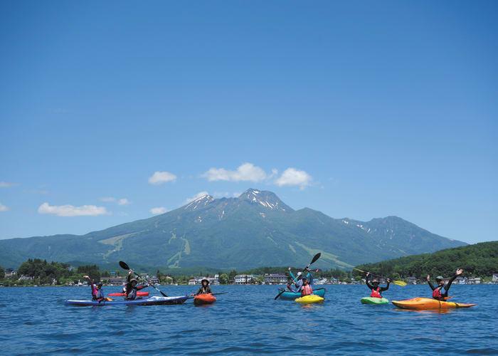 Kayaking on Lake Nojiri