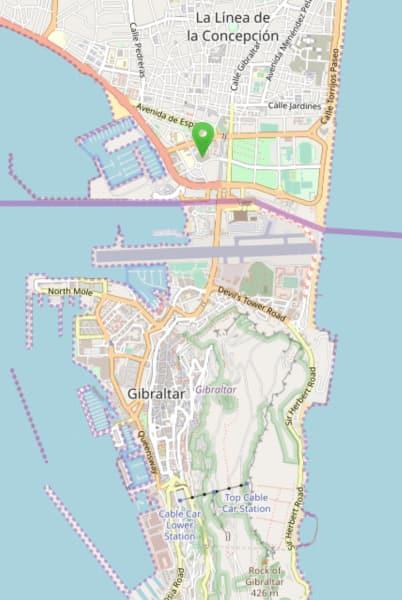 Map Gibraltar and bus station at La Línea