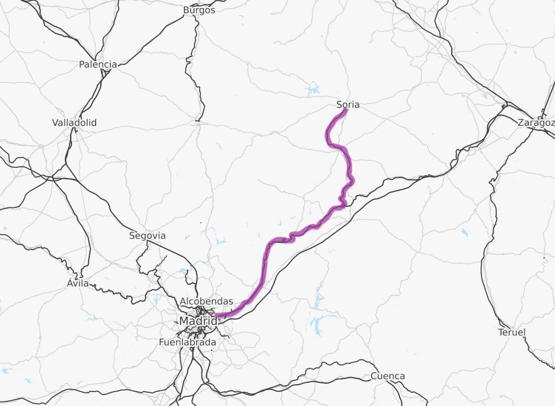 Mapa ferroviario entre Madrid y Soria