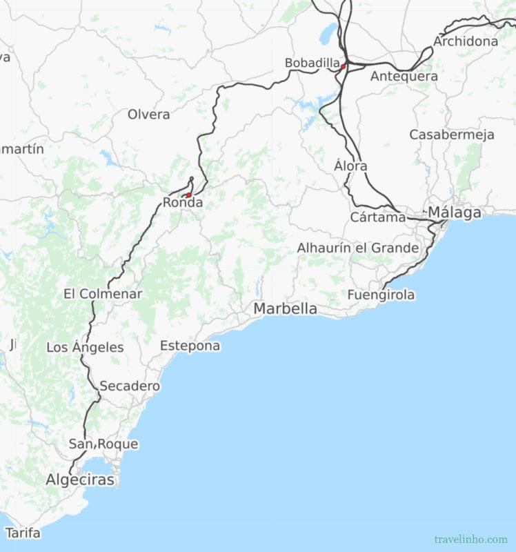 Mapa ferroviario entre Algeciras y Málaga