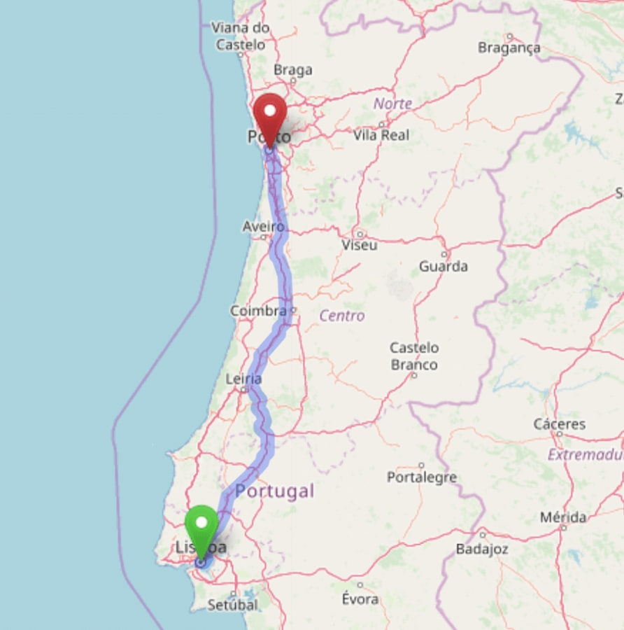 Map of the road route from Lisbon to Porto