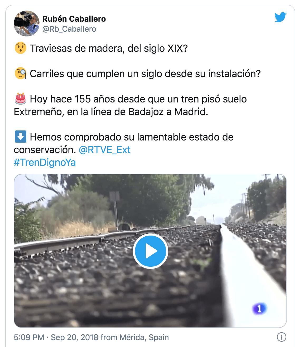 Tweet Tren Extremadura