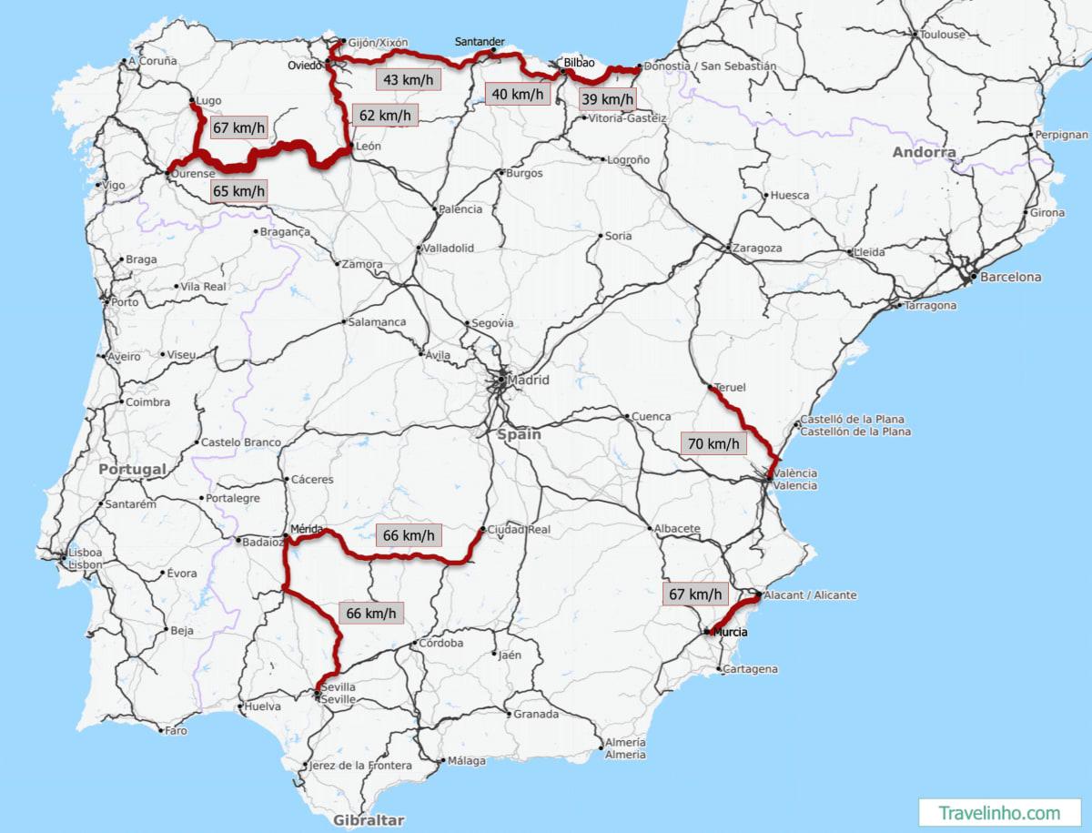 Mapa del sistema ferroviario español destancando las 10 rutas más lentas