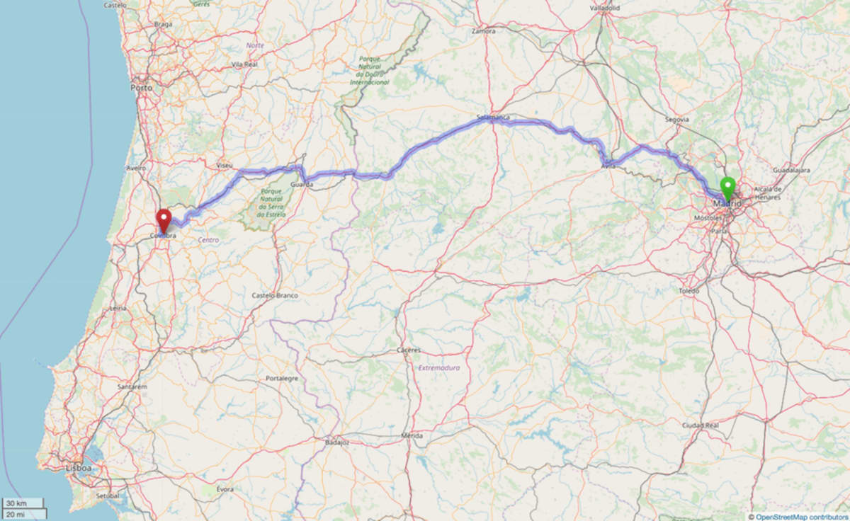 Map of the road route from Madrid to Coimbra