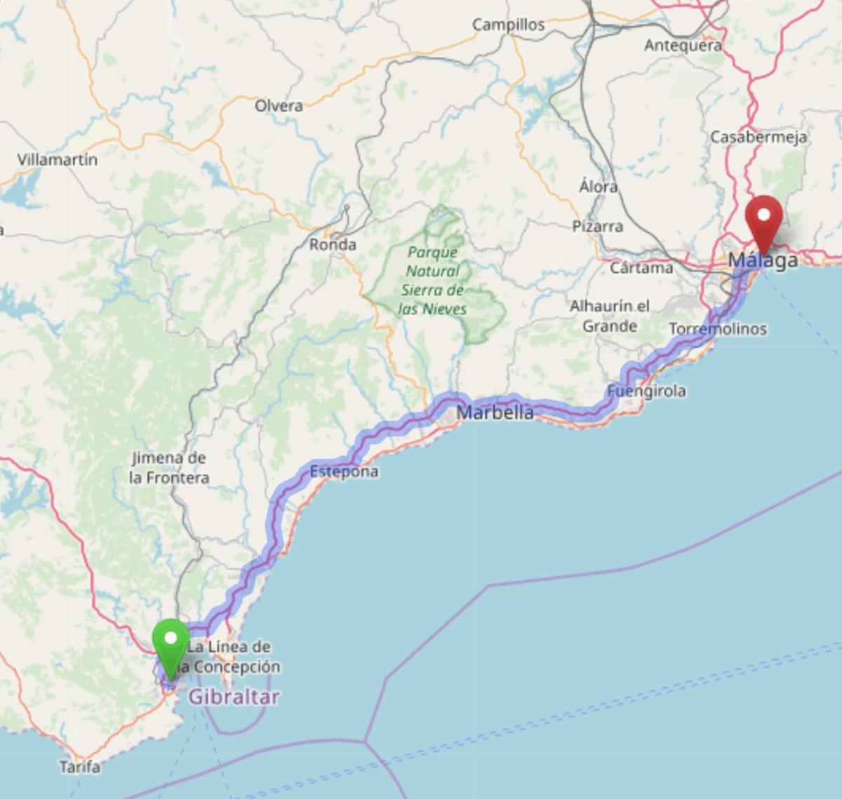 Mapa de la ruta en carretera de Algeciras a Málaga
