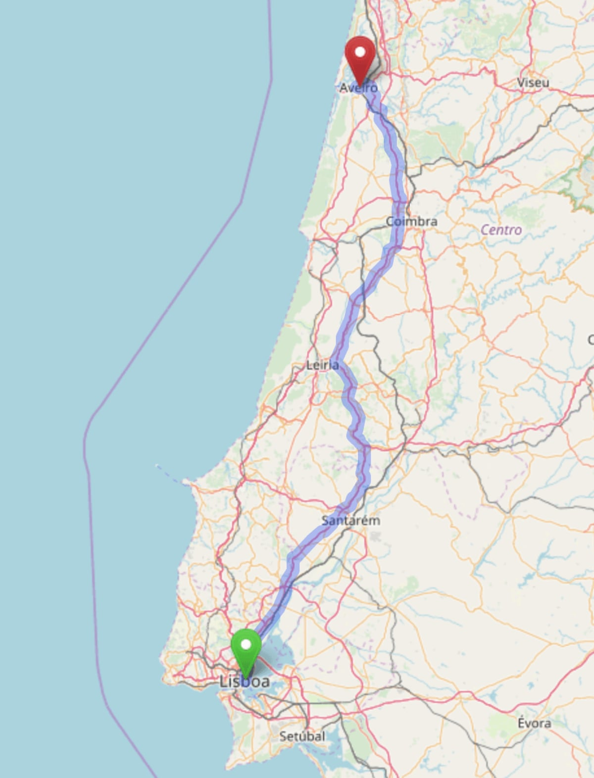 Map of the road route from Lisbon to Aveiro