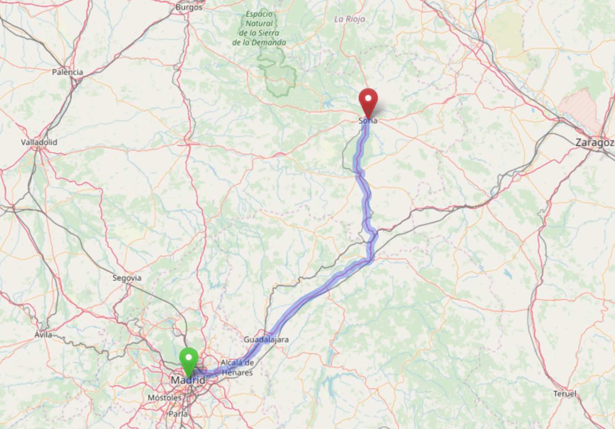 Mapa de la ruta en carretera de Madrid a Soria