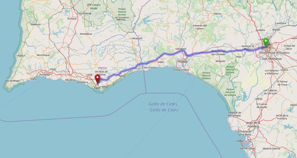 Map of the road route from Seville to Faro