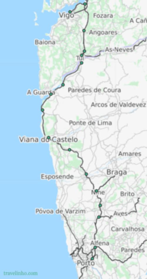 Route followed by the Celta train between Porto and Vigo and its stops