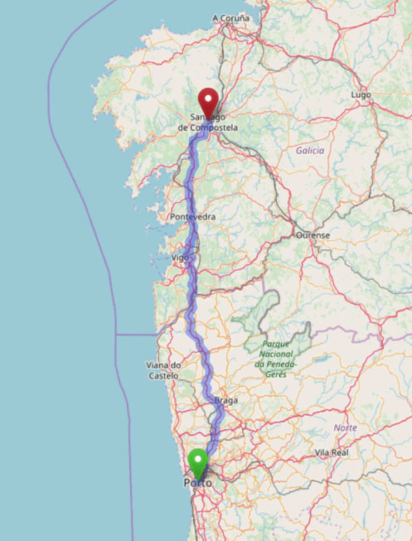 Map of the road route from Porto to Santiago