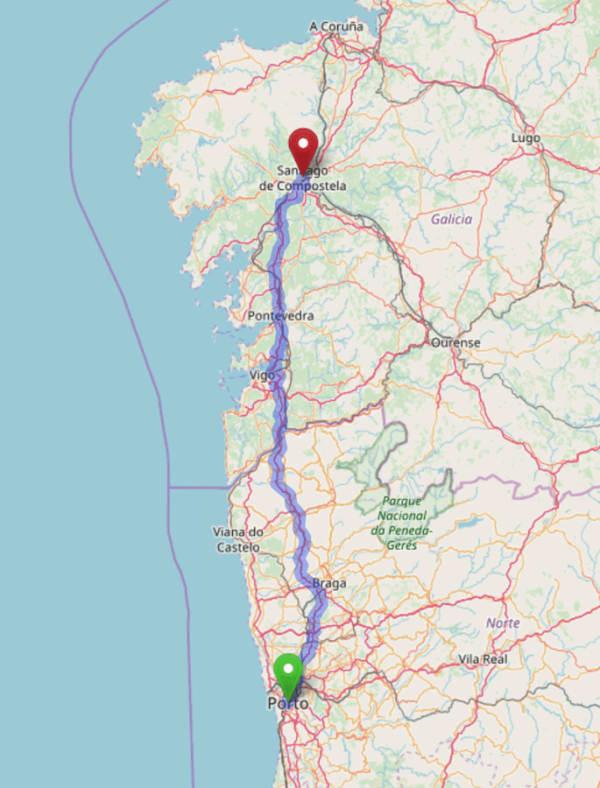 Mapa de la ruta entre Oporto y Santiago
