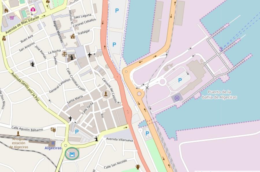 Mapa de Algecira localizando la estación de autobuses