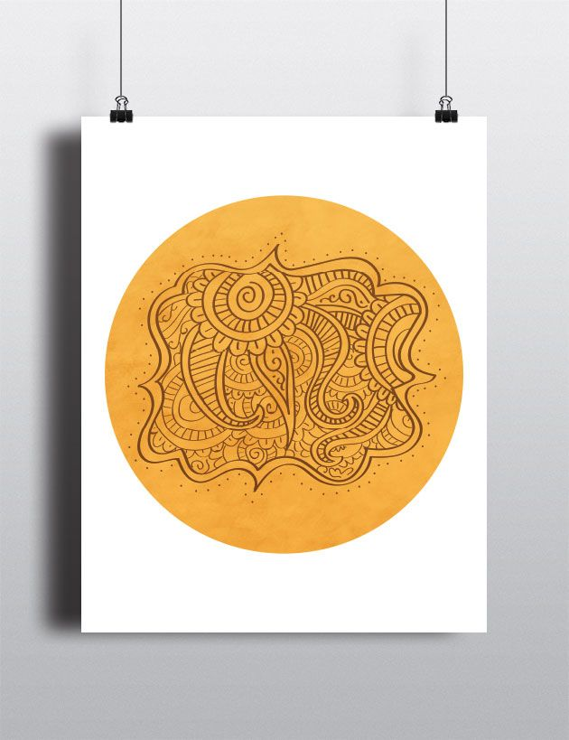 Yellow Circle Mehndi Poster