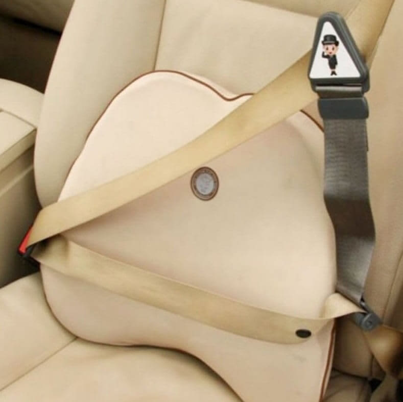 child seatbelt adjuster in car setted up
