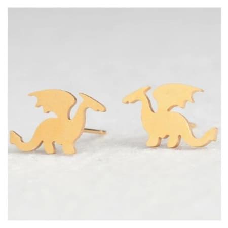 detail-of-gold-Minimalist-dragon-earrings