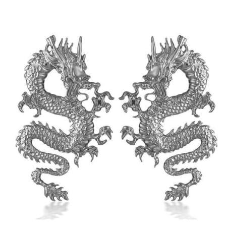 big silver dragon earring detail