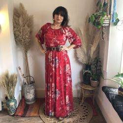 1970s Bohemian Valentine Red Maxi Dress