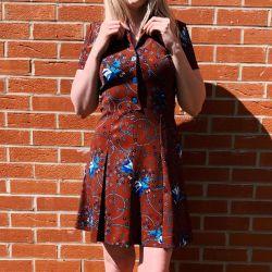 1970s Copper & Blue Floral Mini Dress