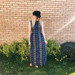 1970s Western Blanket Maxi Dress