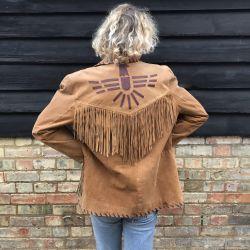 1980s Tan Suede Fringe Eagle southwestern Jacket