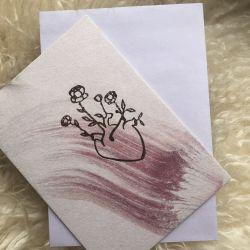 Anna Cosma Heart Foil Letterpress Heart Postcards
