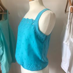Dolly Cotton Vest in Turquoise