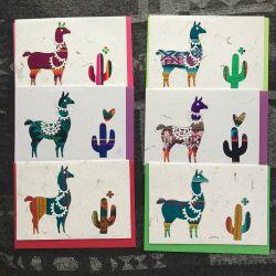 Fairtrade South American Llama & Cactus Card