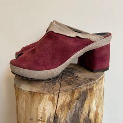 Jolly Brown Vintage 1970s Burgundy Mules Size 3-4