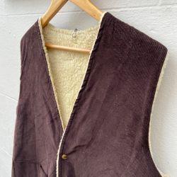 Jolly Brown Vintage 1970s Cord & Sheepskin Waistcoat