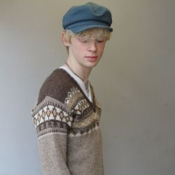 Jolly Brown Vintage 1970s Icelandic V Neck Knit
