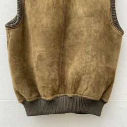 Jolly Brown Vintage 1980s Olive Sheepskin Vest