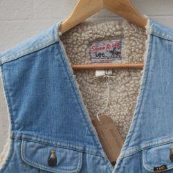Jolly Brown Vintage Lee Jeans Sheepskin & Denim Waistcoat
