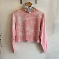 Jolly Brown Vintage Pink Tie Dye Crop Crew Sz M
