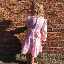 Jolly Little Folk 1970s Pink Smocked Prairie Dress 4-6
