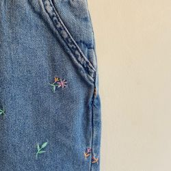 Jolly Little Folk Floral Embroidered Dungarees 12-18 Months