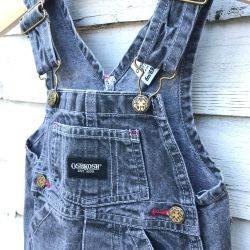 Jolly Little Folk Oshkosh Grey Denim Dungaree Pinafore