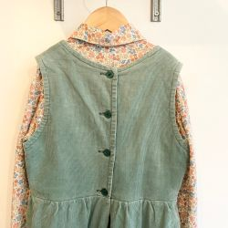 Jolly Little Folk Green Cord & Floral Blouse Dress Set Age 6