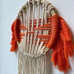 Knot Today Thanks Large Orange Macrame Hoop