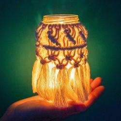 Knot Today Thanks Macrame Jar Lantern