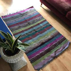 Large Bright Fairtrade Indian Rag Rug