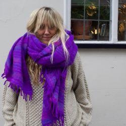 Mantra Bright Purple Recycled Fleece Shawl