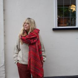 Mantra Bright Red Recycled Fleece Shawl