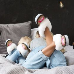Sheepers Childrens Slippers Grey White & Yellow 11-12