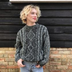 Vintage Green Grey Chunky Cable Knit